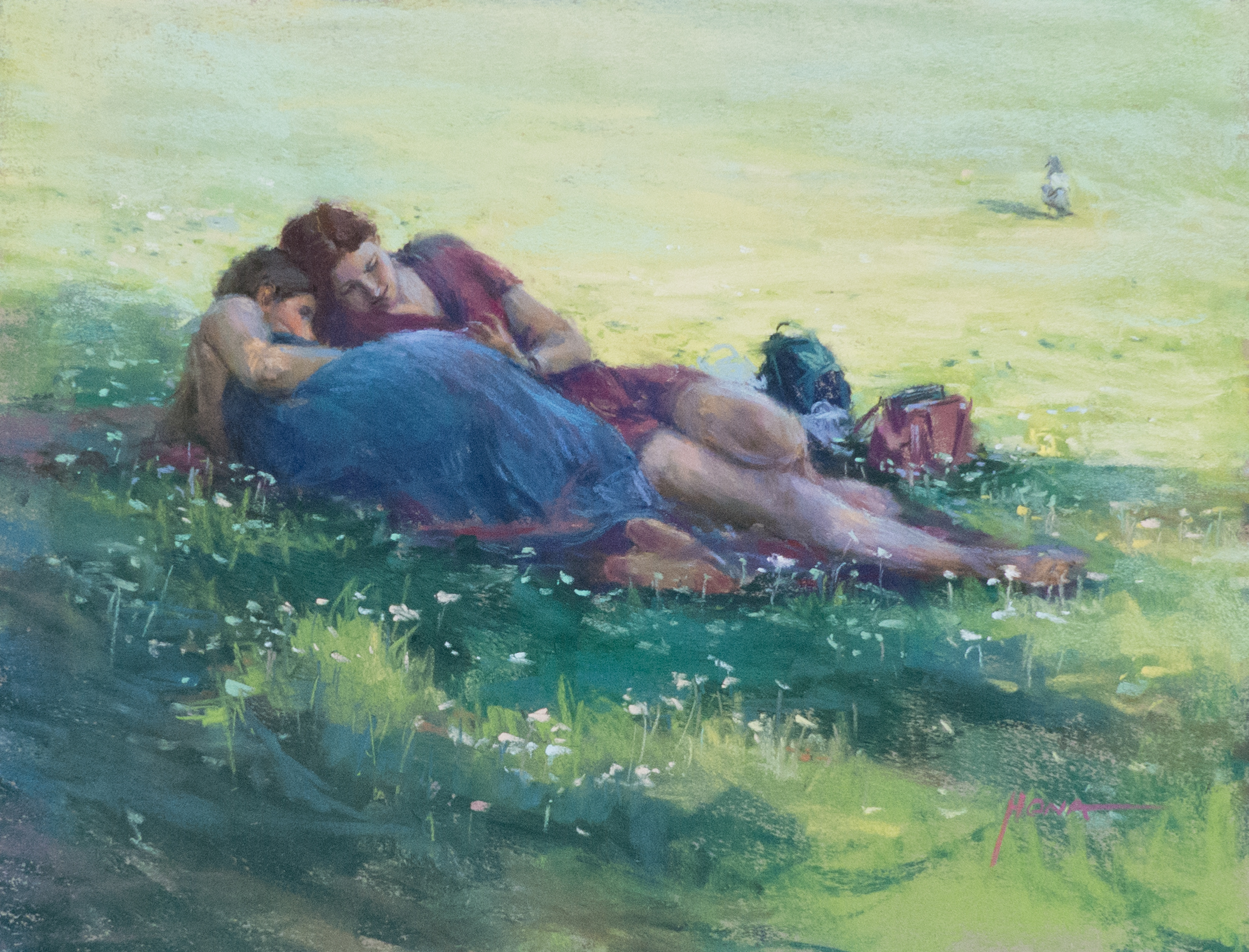 pastel, Friendship in the Park, 40x50cm