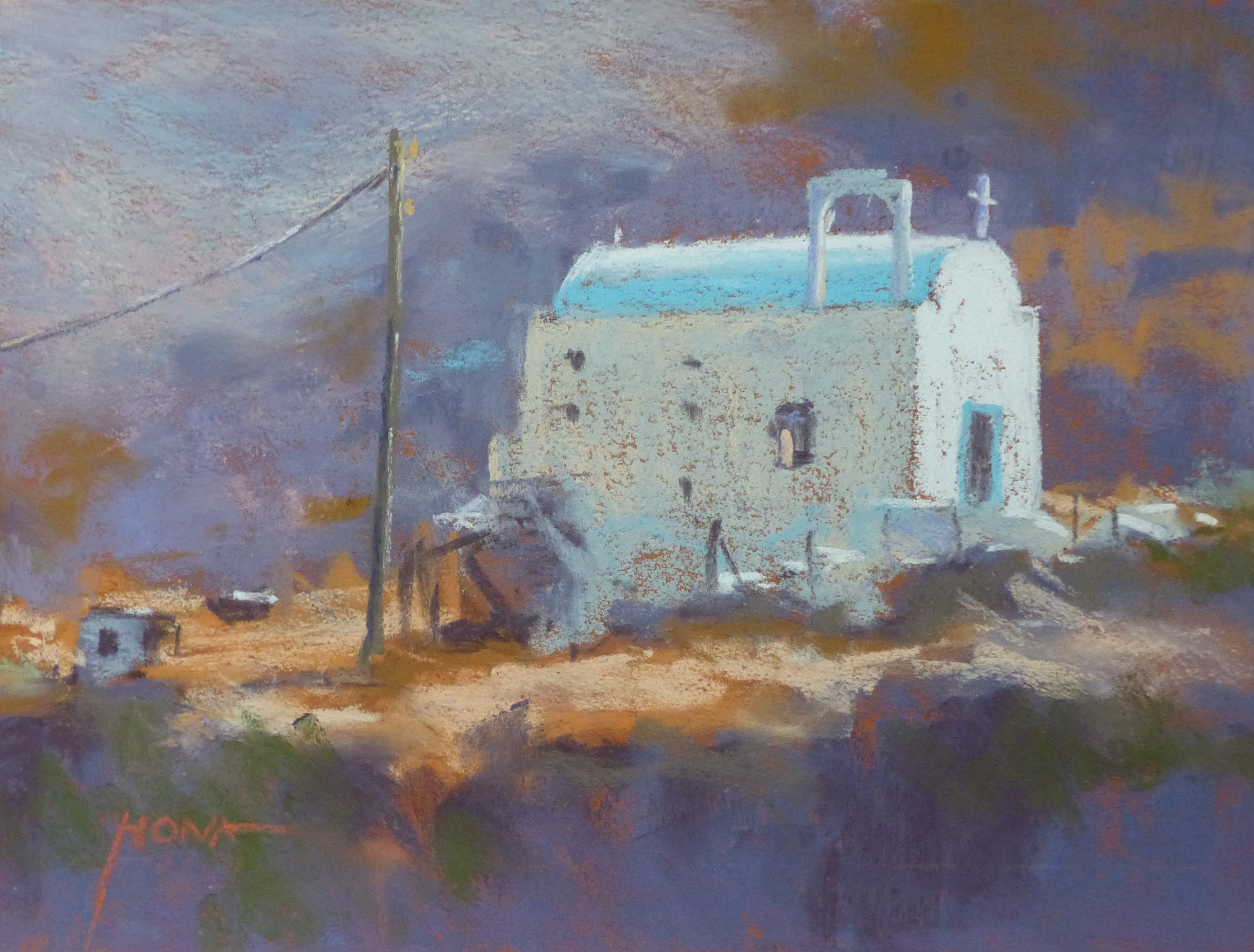 pastel, Little Chapel, Greece, 23x30cm